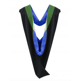 Deluxe Master Academic Hood, Kelly VElvet, Royal Blue & White