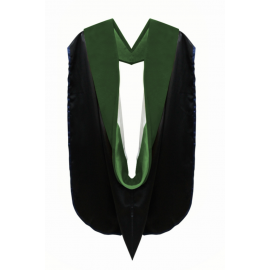 Deluxe Medicine Doctoral Academic Hood, Kelly Green Velvet, Kelly Green & White