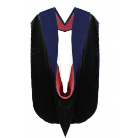 Deluxe Doctoral Academic Hood Dark Blue Velvet, Red & White