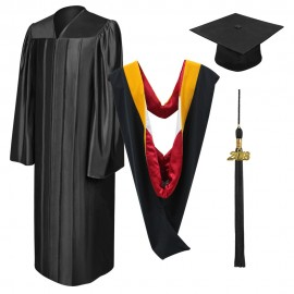 Shiny Black Bachelor Academic Cap, Gown, Tassel & Hood