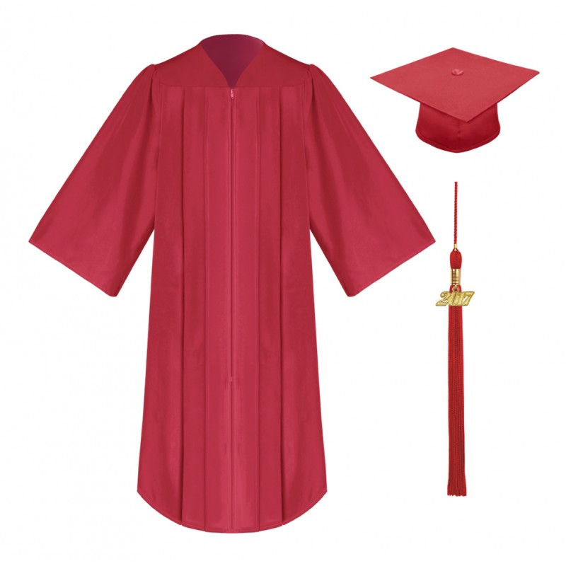 Matte Red High School Cap, Gown & Tassel | Gradshop