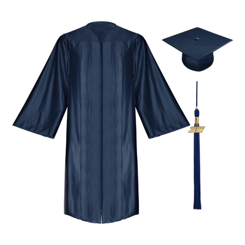 Shiny Navy Blue High School Cap, Gown & Tassel | Gradshop