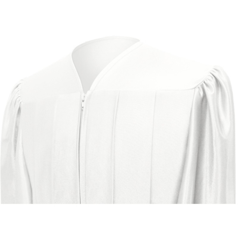 Shiny White High School Gown | Gradshop