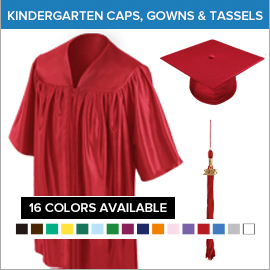 Kindergarten Caps Gowns Tassels 1+1=2 Daycare