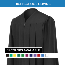 Matte Black High School Gown Rock Cut Elem School