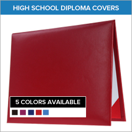 Red High School Diploma Covers Elm Avenue Elementary School